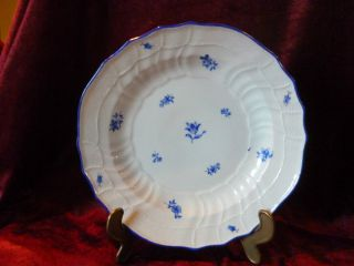 Meissen Antiker Teller Korbrand Roccaien Neuosier Blaue Blumen Insekten Bild