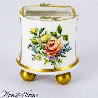 Zündholzschachtel Halter,  Porzellan,  Bemalt Mit Blumen / Blüten,  Insekten Bild
