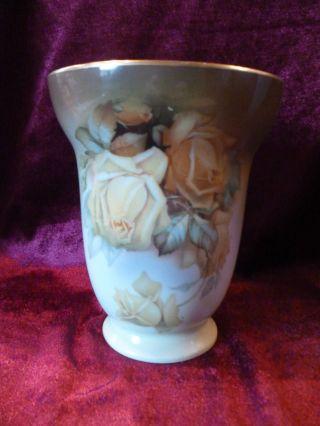 Thomas Jugendstil Seltene Vase La Reine Handgemalt Gelbe Rosen Bild