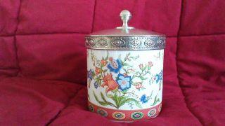 Bunt Bemalte Porzellan Dose Seltmann Weiden Mit Handgegossenem Zinn Deckel 17 Cm Bild