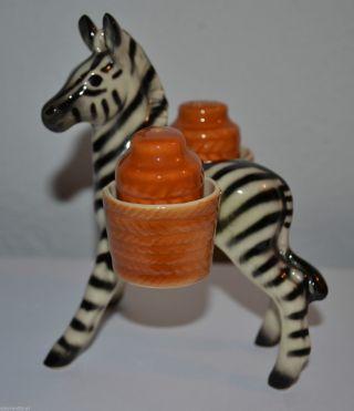 Cortendorf Keramik Zebra Salz Und Pfefferstreuer C1960 / Pferd Horse Menage Bild