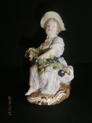 Antike Meissen Porzellan Figur Gärtnerkind Porzellanfigur Spitzenkleid Acier 1.  W Bild