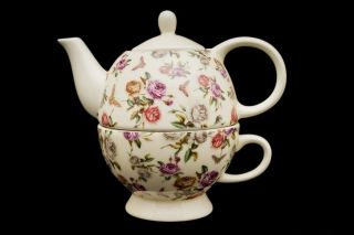 Tea For One Rosen 2 Duo Teetasse Teekanne Porzellan Geschenk Blumen Tee Bild