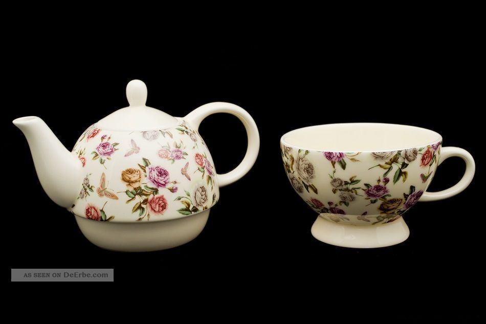 tea for one rosen 2 duo teetasse teekanne porzellan geschenk blumen tee. Black Bedroom Furniture Sets. Home Design Ideas