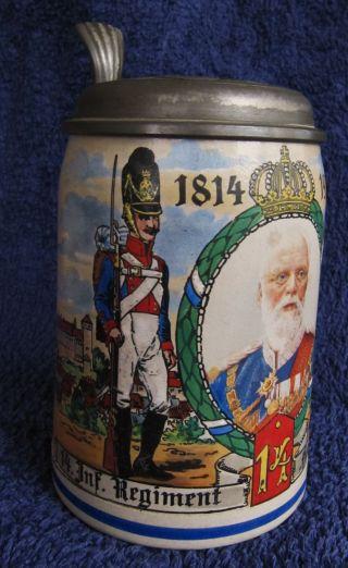 Alter Bierkrug,  14.  Inf.  Regiment Hartmann Nürnberg 1814/1914 Mit Zinndeckel Bild