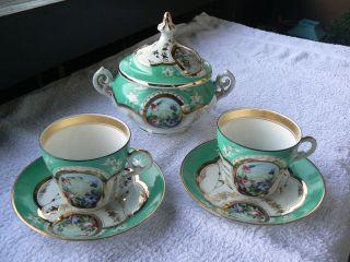 Porzellan,  3 Teiliges Altes Porzellanset Mit Schöner Deckeldose Um 1900 Bild