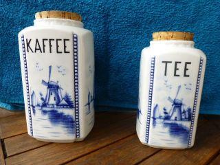 2 Vorratsbehälter Delft Blau Für Kaffee Und Tee Rarität Bild