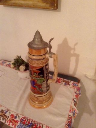 Alter Bierkrug Mit Zinndeckel Selten Und Originell Höhe 42cm Bild