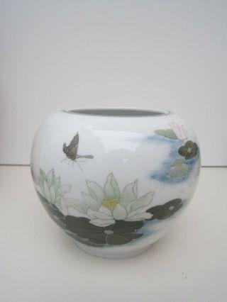 Porzellan Übertopf Vase Seerose Schmetterling Asien Asiatika China Bild
