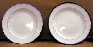 2 Von 4 Tellern Blauer Rand Mit Goldenem Faden Meissen Bild