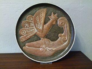 Eindrucksvoller Wandteller Studiokeramik Relief Gemarkt_60s 70s Ceramic Bild