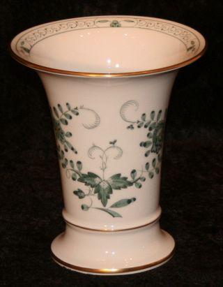 Wunderschöne Meissen Vase Trichtervase Kratervase Porzellan Indisch Grün 16 Cm Bild