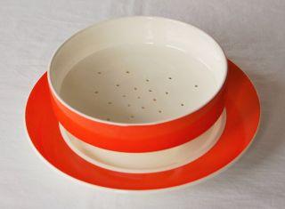 Selten Abtropfsieb,  Teller Orange Creme Wächtersbach 47 Keramik Schüssel Bild
