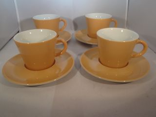 Dachbodenfund Arzberg Germany Perla 4 Kaffeetassen Und 4 Unterteller Gelb Bild