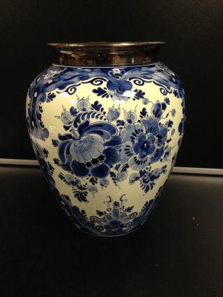 Sehr Schöne Vase Mit 925 Er Silberrand - Regina Delft - Ca.  26 Cm Bild
