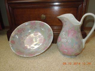 Oma´s Waschschüssel Mit Krug Waschset Wasserkrug Wasserschüssel Porzellan Bild