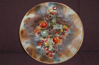 Ruscha Keramik Wandteller Ceramic Wall Plate Space Age Design Fat Lava Bild