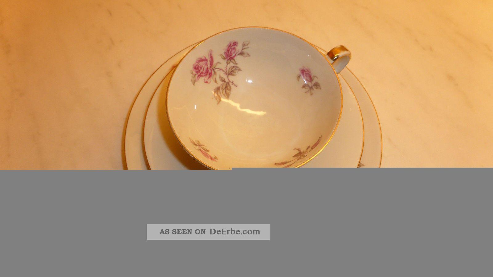 sammeltasse aus porzellan 3 teiliges gedeck hertel jacob bavaria germany rosen. Black Bedroom Furniture Sets. Home Design Ideas