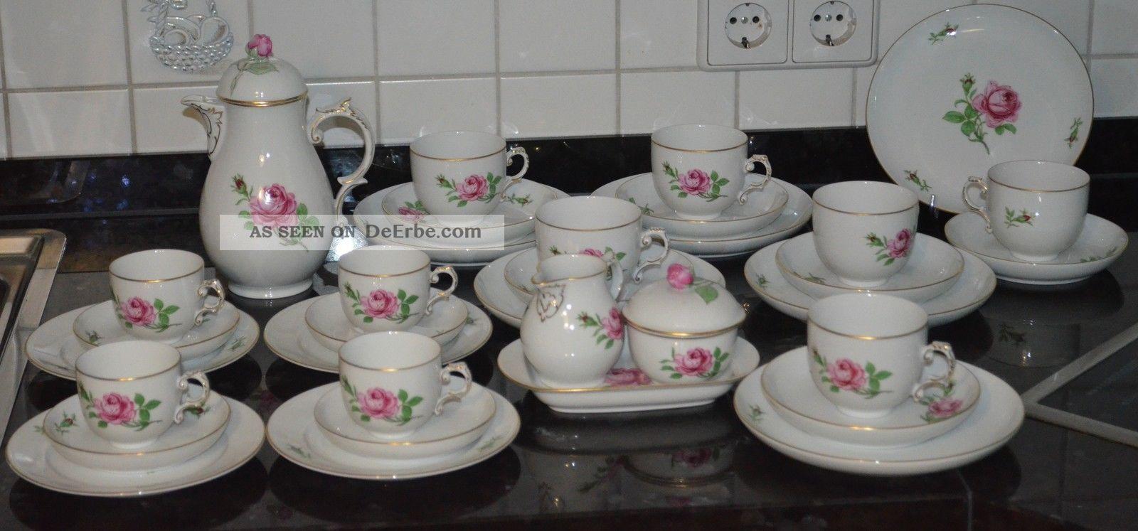 f rstenberg rote rose kaffeeservice 6 personen 4 mocca gedecke 34 teile. Black Bedroom Furniture Sets. Home Design Ideas