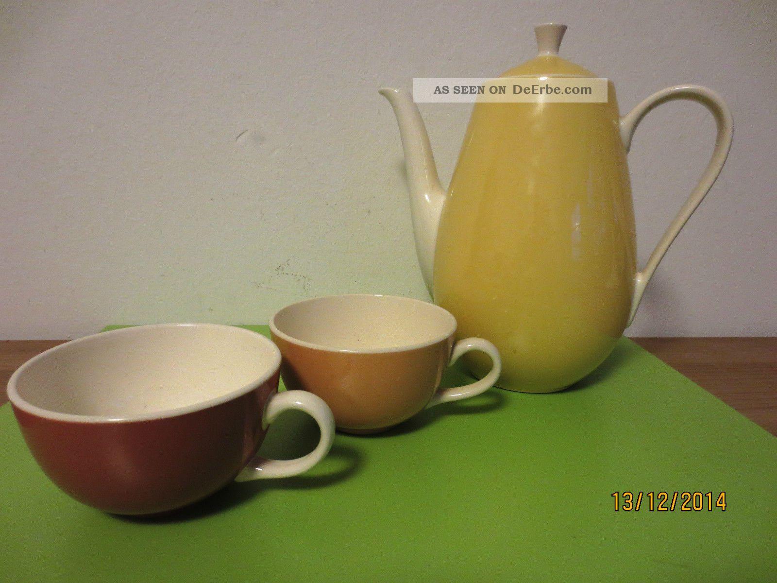 orig villeroy boch mettlach saar kaffeekanne und 2 tassen 50er jahre. Black Bedroom Furniture Sets. Home Design Ideas