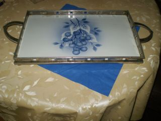 Tablett Kuchenteller Tortenteller Keramik Metall Antik Bild