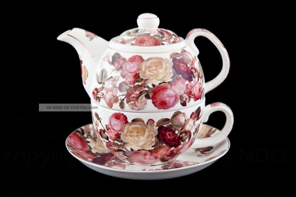 Tea For One Rote Rosen Porzellan Geschenk Blumen Tee Geschirr Tasse ...