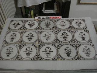 15 Fliesen 12,  8 X 12,  6 - 17.  Jahrhundert Dekor Dunkellila/schwarz,  Sammelwürdig Bild