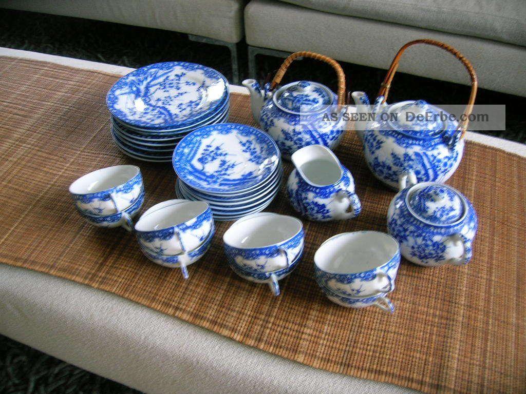 28 Tlg Teeservice Japan Kirschbl 252 Te Wei 223 Blau 2 Kannen 8 Personen