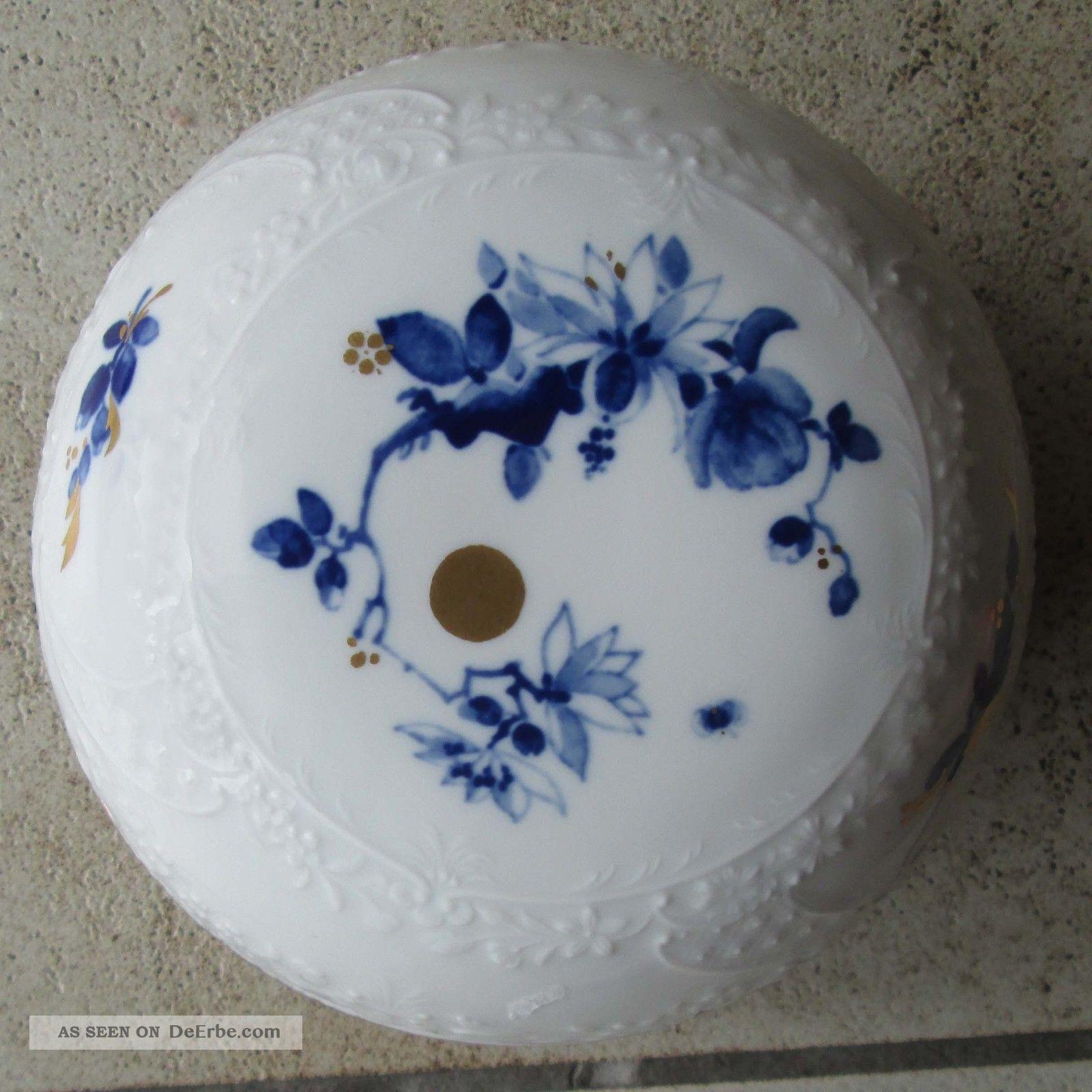Meissen Keramik: Deckeldose Meissen, Blau Und Gold Bemalt, Ø 13 Cm, Höhe 8