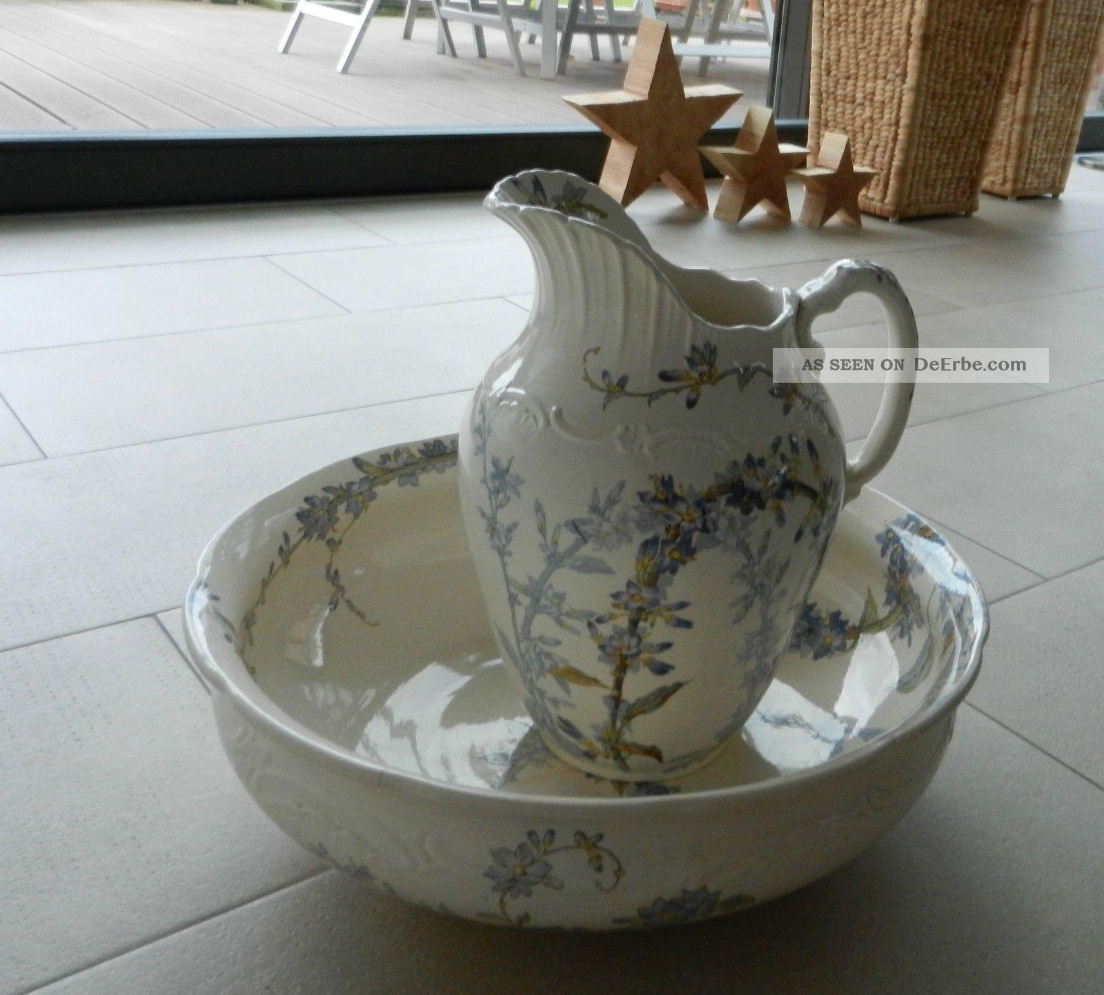 alte waschsch ssel mit krug wei blaues blumenmuster villeroy boch. Black Bedroom Furniture Sets. Home Design Ideas