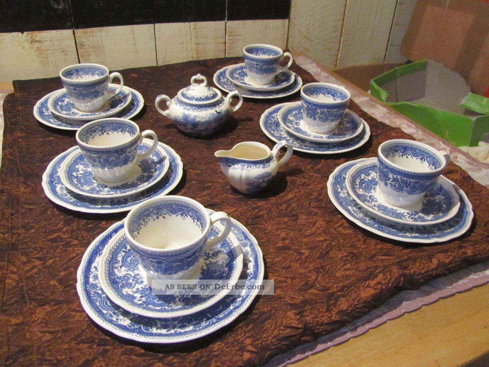 20 tlg kaffee teegeschirr villeroy boch burgenland blau mettlach unterglasur. Black Bedroom Furniture Sets. Home Design Ideas