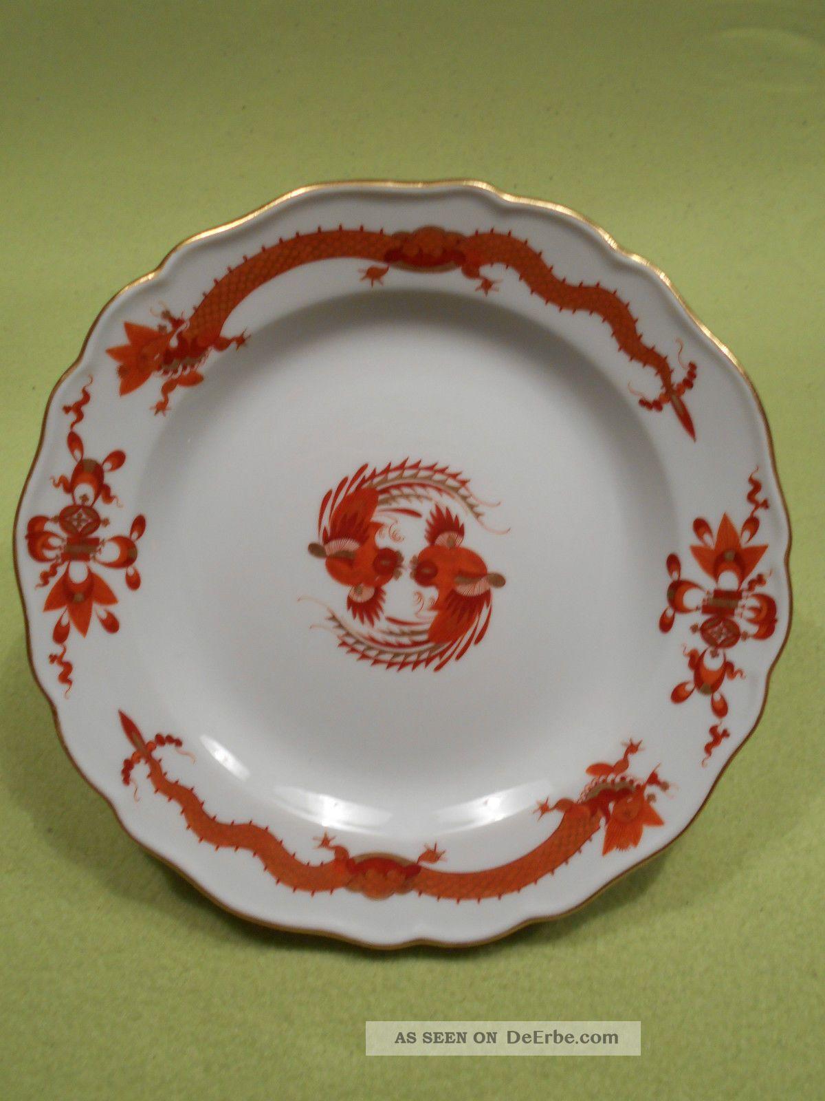 Meissen Teller / Dessertteller Roter Hofdrache Goldgeschuppt U0026 Goldrand.  (10) Bild