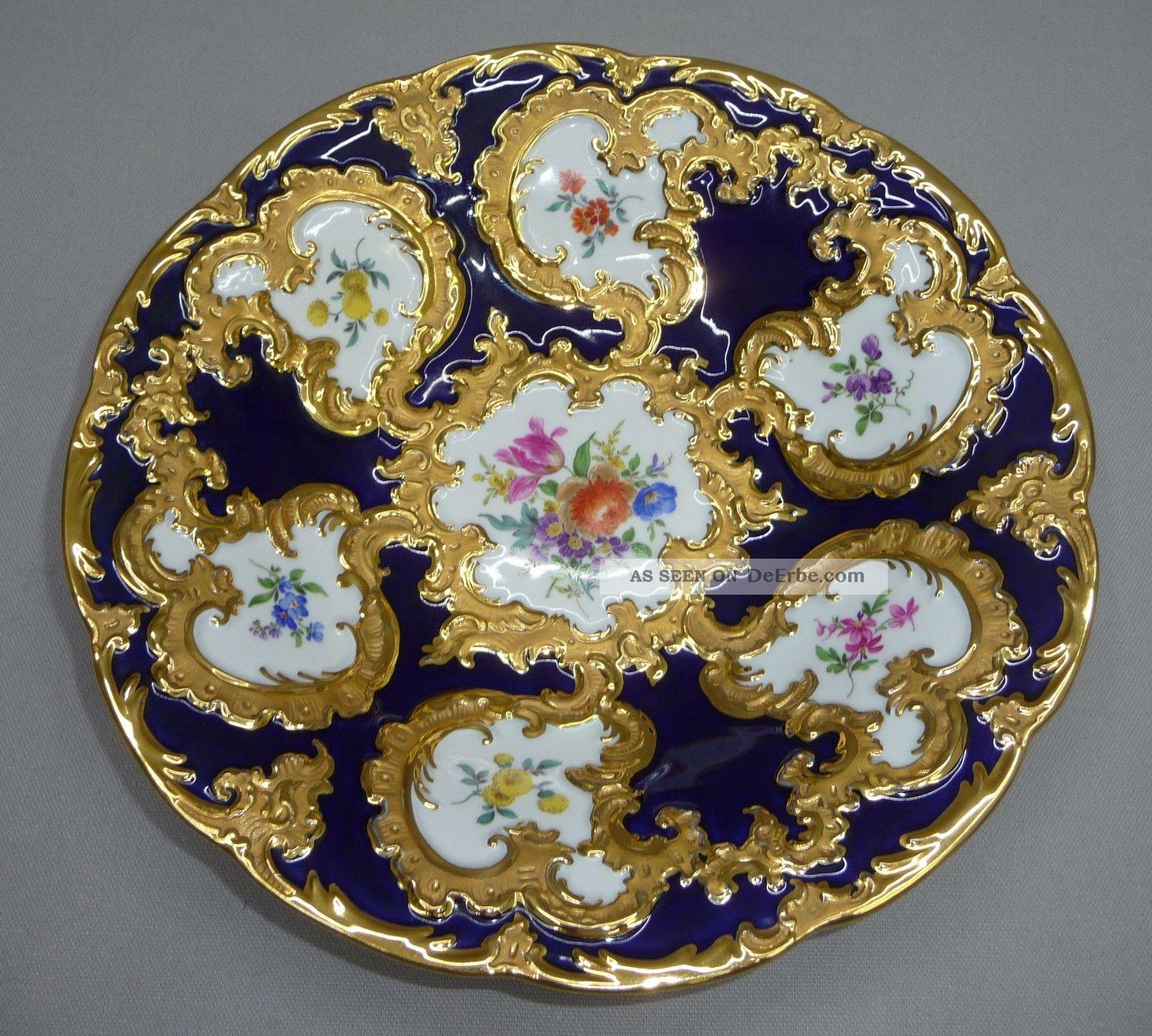Meissen Keramik: Meissen Prunkschale Kobalt Gold Bunte Blumen Prunk Schale