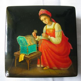 Russische Lackdose Miniaturmalerei Palech - Dose Signiert.  Im Fedoskino - Stil Verm Bild