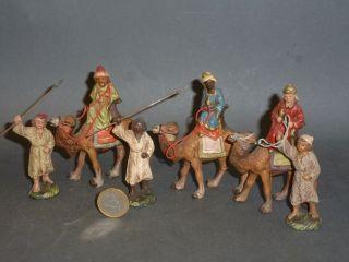 Marolin 3 Alte Krippenfiguren 3 Könige Auf Kamel & 3 Treiber Bild