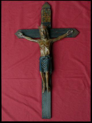 Korpus Kruzifix Romanisch 95cm Gross 16.  /17.  Jh Viernageltypus Holz RaritÄt Bild