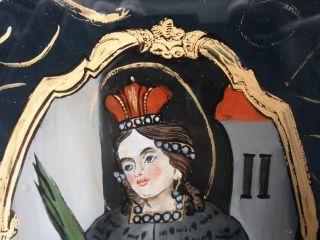 Antikes Hinterglasbild 19.  Jhdt.  Hl.  Barbara Goldmalerei Bild