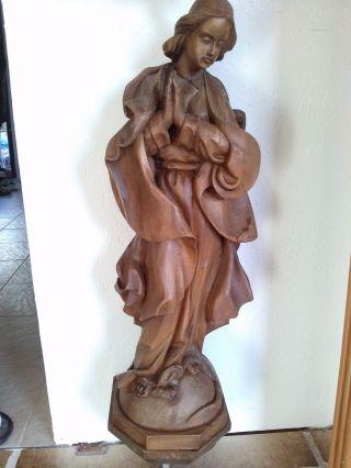 Marien - Statue Aus Holz,  Handgeschnitzt Mit Wandsockel,  Jungfrau Maria Bild