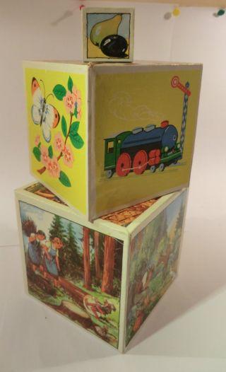 Uralte Bilderwürfelpyramide Märchen 3 - Teile Spielzeug Seiffen 1925 Bild