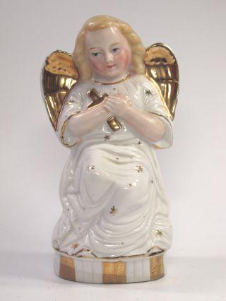 Alter Engel Aus Porzellan Um 1900 Weiss Gold Bemalung Mit Kreuz Altes Bild