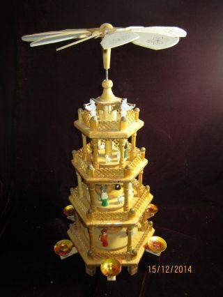 Alte Pyramide 4stöckig Mit Christi Geburt Krippe Engel Um 1970 In Ovp Bild