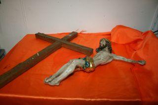 Christus - Jesus Kreuz Aus Haushaltsauflösung 67 Cm Hoch X 28 Cm Körpergröße Bild