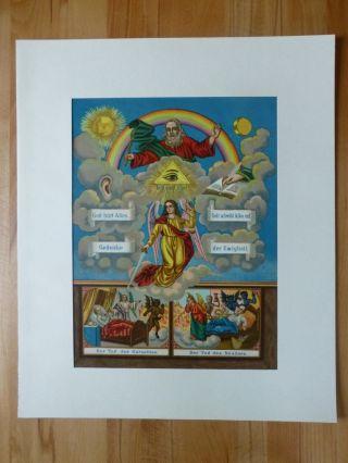Heiligenbild Gottvater Engel Gerechtigkeit Ewigkeit Chromolithographie Antik Bild