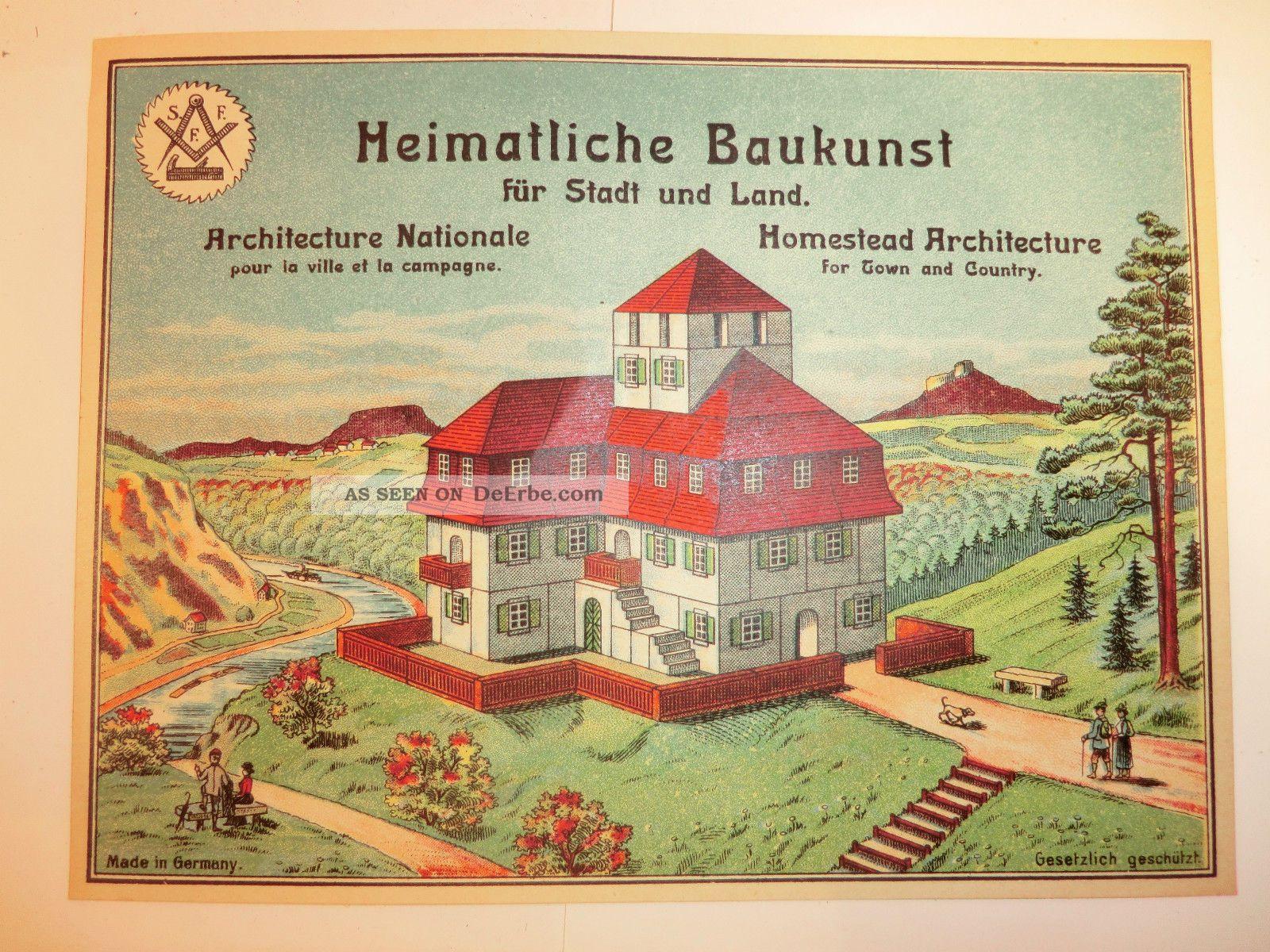 Uralte Holzbaukasten Vorlage S. F. Fischer Seiffen Erzgebirge 1920