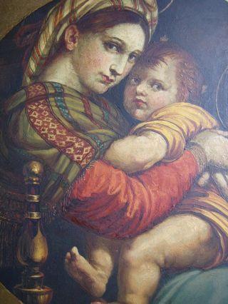 Antikes Heiligenbildnis,  Öl Auf Blechplatte,  Mutter Gottes M.  Kind,  19.  Jahrhundert Bild