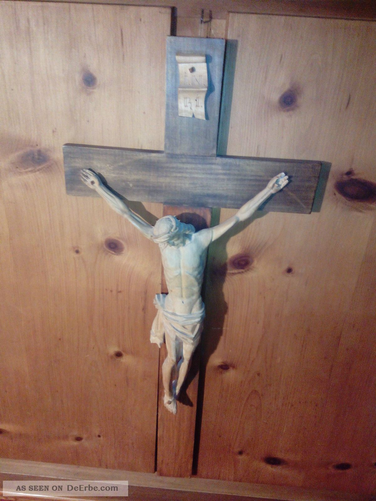 edles kruzifix holz 46cm inri jesus erbst ck scheunenfund. Black Bedroom Furniture Sets. Home Design Ideas