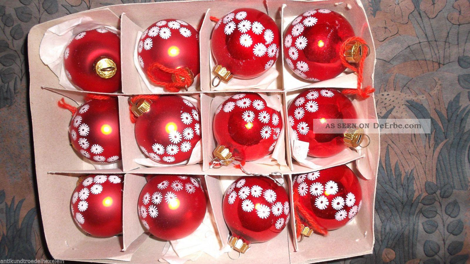 Christbaumschmuck 12 Rote Ddr Glaschristbaumkugeln Mit Blumen Drauf
