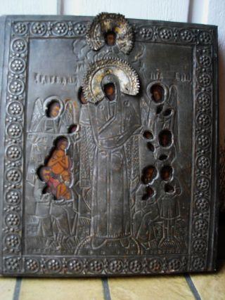 Antike Russische Ikone Um1850 / Antique Russian Icon Ikona Icone Bild