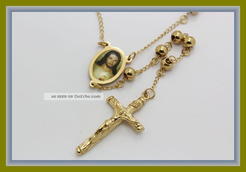 top rosenkranz rosario halskette 18k gold hochglanzpoliert. Black Bedroom Furniture Sets. Home Design Ideas
