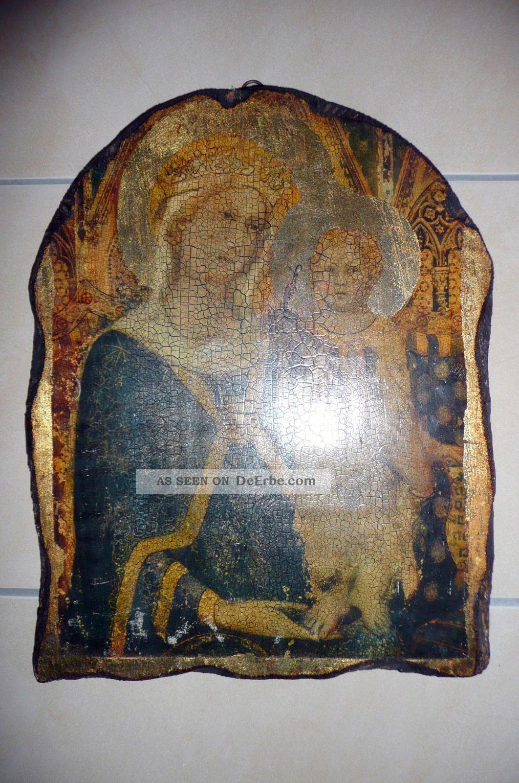 ikone maria mit kind auf altem holz ca 40 x 31 x 3 cm. Black Bedroom Furniture Sets. Home Design Ideas